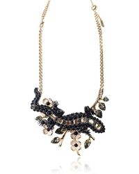 Roberto Cavalli - Gold Plated Embellished Black Lizard Statement Necklace - Lyst