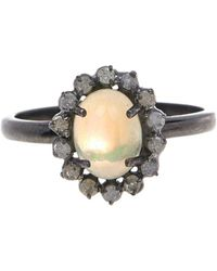 Adornia - Opal And White Diamond Genevieve Ring - Lyst