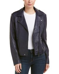 Badgley Mischka - Leather Biker Jacket - Lyst