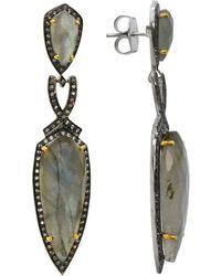 Pangea Mines - 2.5 Inches Labradorite & White Topaz Drop Earrings - Lyst
