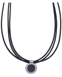 """Jewelista - 16"""" Nitrile Rubber & Stainless Steel Pendant Necklace - Lyst"""