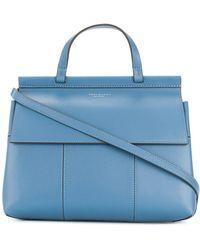 Tory Burch - Women's Blue Leather Handbag - Lyst
