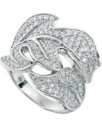Suzy Levian - Pave Cubic Zirconia Sterling Silver Leaf Ring - Lyst