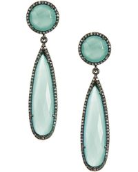 Adornia - Aqua Chalcedony And Champagne Diamond Gillian Earrings - Lyst