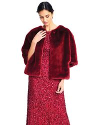 Adrianna Papell - Faux Fur Open Front Cape Jacket - Lyst
