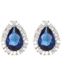 Adornia - Sterling Silver And Swarovski Crystal Pear Shaped Halo Earrings - Lyst