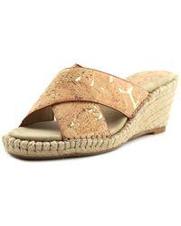 Johnston & Murphy - Arlene Open Toe Leather Wedge Sandal - Lyst
