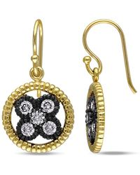 Catherine Malandrino - Cz Earrings In Yellow Plated Sterling Silver W/black Rhodium - Lyst