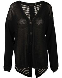 Dex - Button Front Cardigan In Solid Black/stripe - Lyst