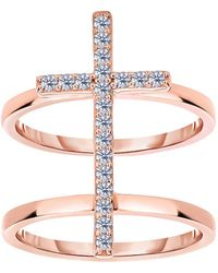 Jewelry Affairs - Sterling Silver With Cz And Rose Tone Finish Cross Design Ring - Lyst