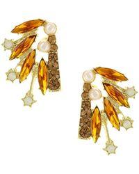 Sparkling Sage - 14k Plated Crystal & Resin Drop Earrings - Lyst