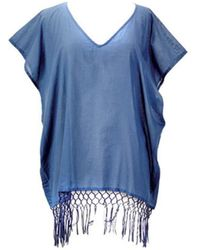 San Diego Hat Company - Women's V-neck Cotton Tunic With Fringe Hem Bst1705 - Lyst