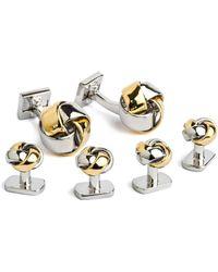 Ike Behar - 2 Tone Knot Cufflink/stud Set - Lyst