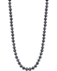 "Splendid - 8-8.5mm Cultured Freshwater Pearl Necklace, 18"", Individually Hand Knotted, 14k White Gold Fish Hook Clasp - Lyst"