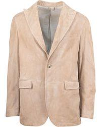 Pal Zileri - Sartoriale Tan Suede Leather 2 Button Sport Coat - Lyst
