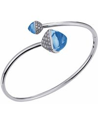 Jewelista - Diamond And Blue Topaz Bypass Bracelet In 14k White Gold - Lyst