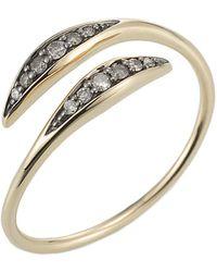 Jewelista - Diamond Bypass Ring In 14k Yellow Gold - Lyst