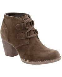 Clarks - Carleta Lyon Almond Toe Suede Ankle Boots - Lyst