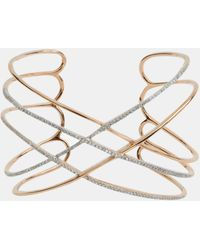 Socheec - Open Back Criss Cross Gold And Pave Diamond Cuff - Lyst