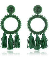 Oscar de la Renta - Women's Green Silk Earrings - Lyst