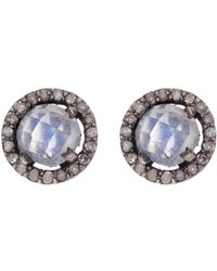 Adornia | Moonstone And Champagne Diamond 5mm Echo Halo Stud Earrings | Lyst