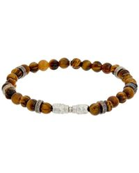 Thompson London - Rhodium Tiger's Eye Stretch Bracelet - Lyst