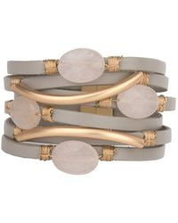 Saachi - Taupe Leather Agate Bracelet - Lyst