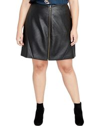 Rachel Roy - Womens Plus Faux Leather Textured Mini Skirt - Lyst