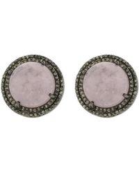 Adornia - Morganite And Diamond Corina Cabochon Double Halo Studs - Lyst