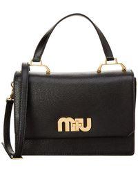 Miu Miu - Madras Leather Logo Satchel - Lyst