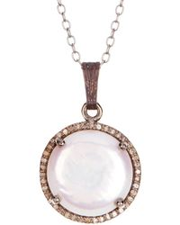 Adornia - Freshwater Pearl And Champagne Diamond Zeyla Necklace - Lyst