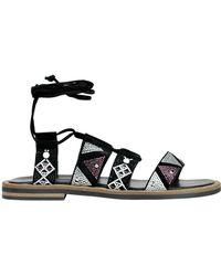 Janet & Janet - Women's Black Suede Sandals - Lyst