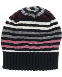 Missoni - Black/pink Knitted Beanie Wool Blend Hat - Lyst