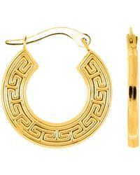 Jewelry Affairs - 10k Yellow Gold Greek Key Pattern Round Hoop Earrings , Diameter 18mm - Lyst
