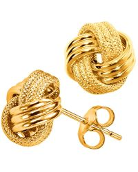 Jewelry Affairs - 10k Yellow Gold Shiny And Textured Triple Row Love Knot Stud Earrings, 10mm - Lyst