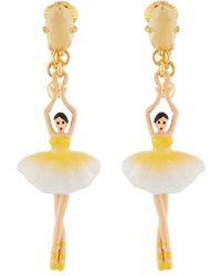 Les Nereides - Pas De Deux Citrine Yellow Blue Toe-dancing Ballerina Clip Earrings - Lyst