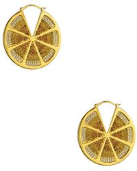 Noir Jewelry - Sao Paulo Lemon Slice Cz Hoops - Lyst