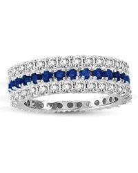 Suzy Levian - 14k White Gold Sapphire Diamond 3-piece Set Eternity Band Ring - Lyst