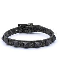 Double Bone - Studs Bracelet Black Pvd/ Grey Stingray - Lyst
