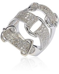 Suzy Levian - Sterling Silver Cubic Zirconia White Buckle Ring - Lyst