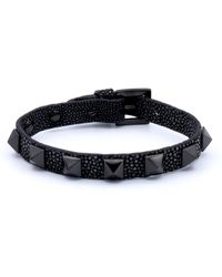 Double Bone - Studs Bracelet Black Pvd/ Black Stingray - Lyst