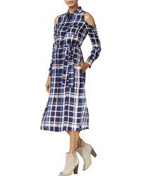 Maison Jules - Womens Plaid Cold Shoulder Shirtdress - Lyst