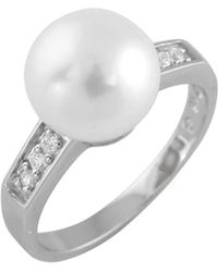 Splendid - White Freshwater Pearl Ring With Cz Accents - Lyst