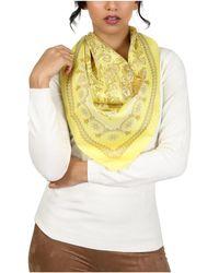 Versace - Yellow Baroque Print Silk Foulard Scarf - Lyst