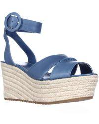 Alice + Olivia - Alice And Olivia Roberta Platform Espadrille Wedge Sandals, Umbrella Blue - Lyst