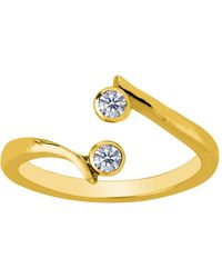 Jewelry Affairs - 14k Yellow Gold Double Solitaire With Cz By Pass Style Adjustable Toe Ring - Lyst