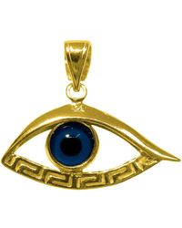 Jewelry Affairs - Sterling Silver 18 Karat Gold Overlay Plated Evil Eye Meandros Pendant - Lyst