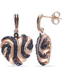 Catherine Malandrino - Black Diamond Heart Swirl Earrings - Lyst