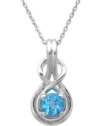 Amanda Rose Collection - Swiss Blue Topaz Infinity Love Knot Pendant-necklace In Sterling Silver (1ct Tw) - Lyst