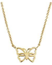 """Jewelry Affairs - 14k Yellow Gold Butterfly Pendant On 17"""" To 18"""" Adjustable Necklace - Lyst"""